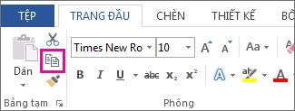 Nút sao chép trên tab Trang đầu