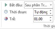 Trong nhóm Định thời gian, bạn có thể đặt chi tiết định thời gian.