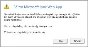 Truy cập Web Lync -- luôn tin cậy miền bổ trợ hoặc chỉ cho phép phiên này