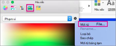 Chọn biểu tượng ảnh để chọn một màu từ một tệp