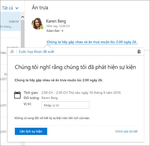 Ảnh chụp màn hình thư email có nội dung về một cuộc họp và thẻ Cuộc họp Được đề xuất chứa chi tiết cuộc họp và các tùy chọn để lên lịch sự kiện và chỉnh sửa các chi tiết sự kiện.