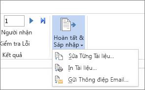 Ảnh chụp màn hình tab Gửi thư trong Word, hiển thị lệnh Kết thúc & Phối cùng các tùy chọn.
