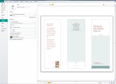 Tổng quan về thiết đặt in trong Publisher