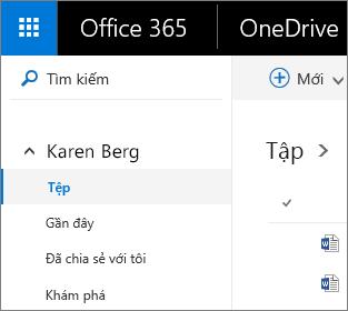 Ảnh chụp màn hình của chế độ xem Tệp trong OneDrive for Business