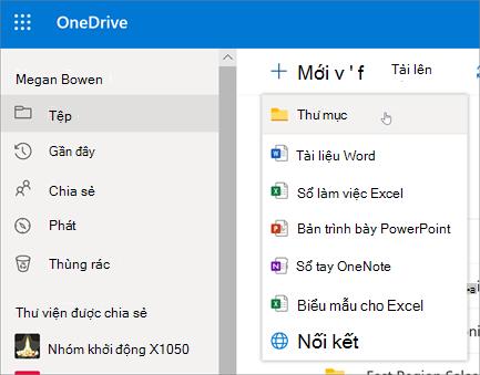 Tạo Thư mục trên OneDrive