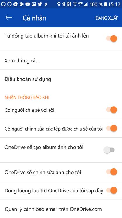 Đi vào thiết đặt OneDrive for Android ứng dụng để đặt thiết đặt thông báo của bạn.