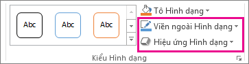 Nhóm Kiểu Hình dạng trên tab Định dạng Công cụ Vẽ