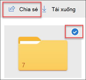Hình ảnh của thư mục trong OneDrive và tùy chọn chia sẻ.