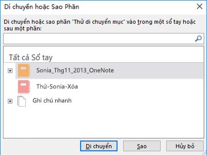 Hộp thoại Di chuyển hoặc sao chép mục trong OneNote for Windows 2016