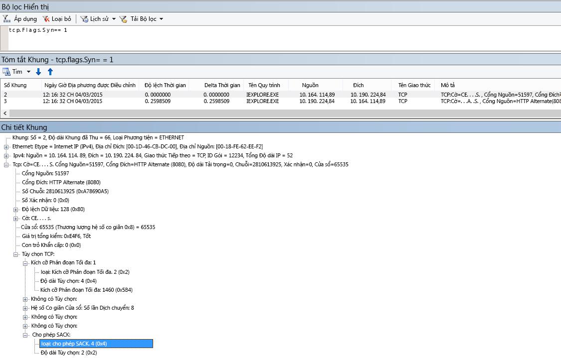 Báo nhận Có lựa chọn (SACK) trong Netmon là kết quả của tcp.flags.syn == 1.