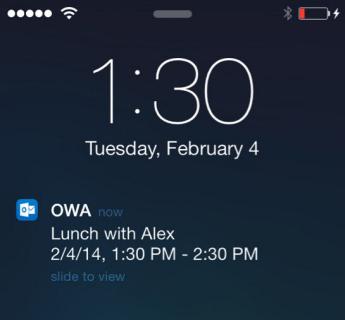 iPhone màn hình khóa hiển thị cảnh báo cuộc họp OWA cho iPhone