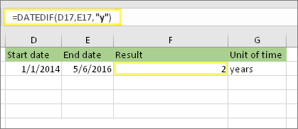 "= DATEDIF (D17, E17, ""y"") và kết quả: 2"