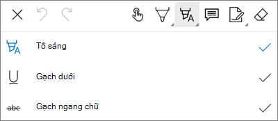Menu tô sáng đánh dấu PDF trong OneDrive for Android