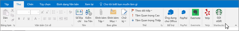 Ảnh chụp màn hình của ruy-băng Outlook với tiêu điểm trên tab thư, vị trí con trỏ điểm đối với bổ trợ ở bên ngoài cùng bên trái. Trong ví dụ này, bổ trợ là Office bổ trợ, PayPal, Evernote, Yelp và Starbucks.