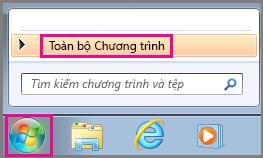 Tìm kiếm các ứng dụng Office bằng Tất cả Chương trình trong Windows 7