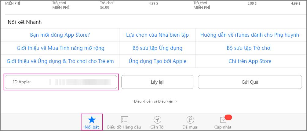 Phần nổi bật của Store ứng dụng
