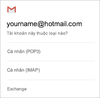 Chọn Exchange