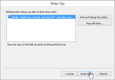 Khi bạn nhập liên hệ Gmail vào hộp thư Office 365 của mình, hãy bấm nút Hoàn tất để bắt đầu di chuyển
