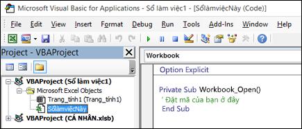 Mô-đun ThisWorkbook trong trình soạn thảo Visual Basic (VBE)