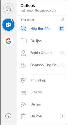 Ngăn dẫn hướng Outlook với mục yêu thích ở trên cùng