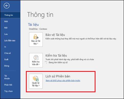 Nút Quản lý phiên bản cho phép bạn khôi phục các phiên bản cũ hơn của tài liệu
