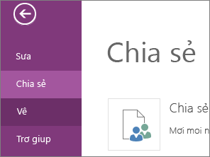 Lệnh Chia sẻ trong OneNote Online
