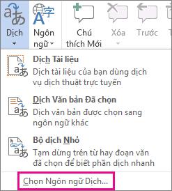 Chọn Ngôn ngữ Dịch