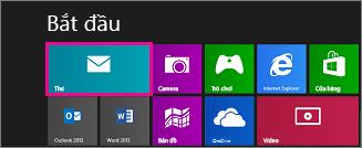 Trang Bắt đầu của Windows 8 hiển thị lát xếp Thư