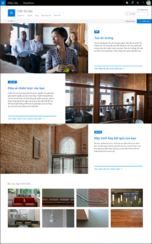 Thiết kế trang giới thiệu SharePoint giao tiếp