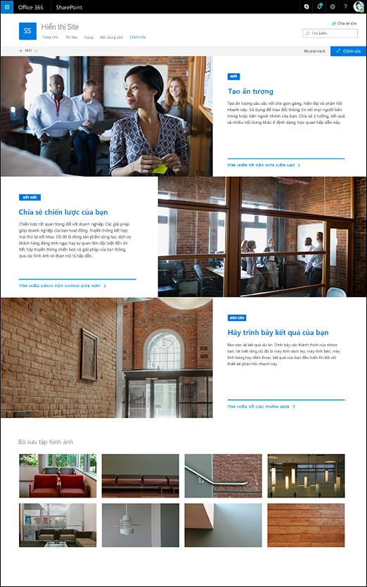 Thiết kế giới thiệu site trong SharePoint Communication