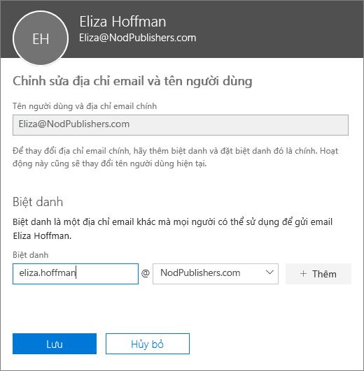Ngăn Chỉnh sửa địa chỉ email và tên người dùng hiển thị địa chỉ email chính và biệt danh mới cần thêm.