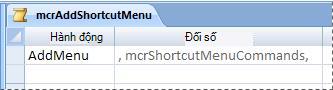 Macro menu trong dạng xem Thiết kế