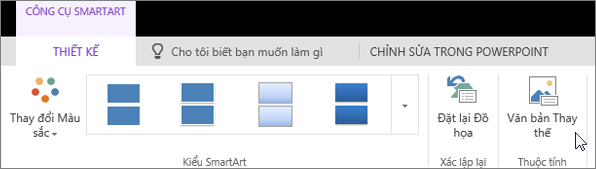 Ảnh chụp màn hình hiển thị tab Thiết kế của Công cụ SmartArt với con trỏ trỏ đến tùy chọn Văn bản Thay thế.