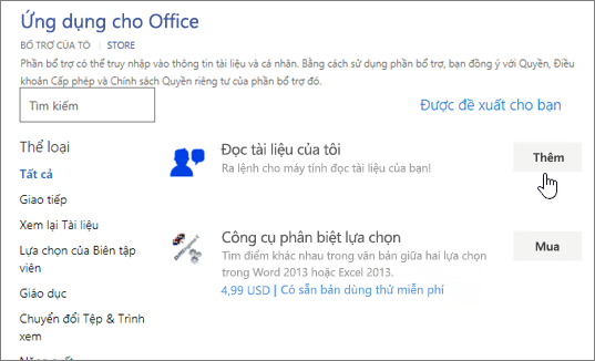 Ảnh chụp màn hình của trang ứng dụng cho Office trong Store nơi bạn có thể chọn hoặc tìm kiếm cho ứng dụng cho Word.