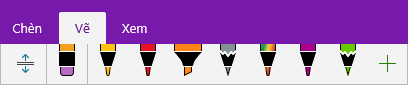 Bộ sưu tập bút trong OneNote hiển thị các loại bút tùy chỉnh