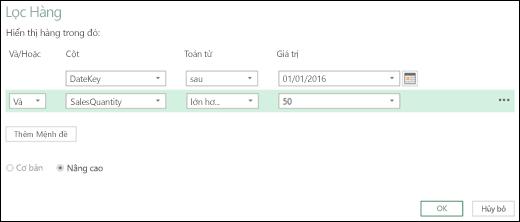 Hộp thoại Lọc Hàng Nâng cao trong Bộ soạn thảo Truy vấn trong Power BI của Excel