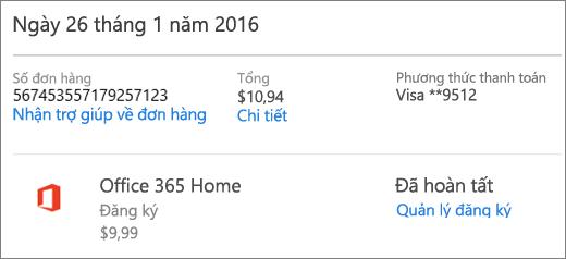 Một trang Lịch sử đơn hàng mẫu, hiển thị chi tiết đơn hàng cho đăng ký Office 365 Home.