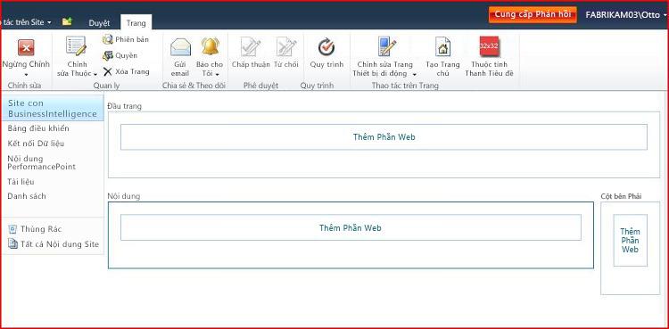 Trang Phần Web chứa vùng để thêm Phần Web