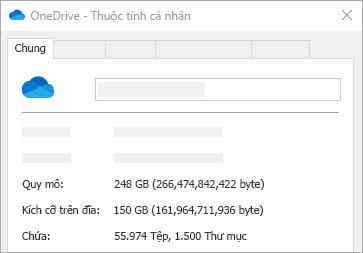 Kích cỡ OneDrive trên thuộc tính đĩa