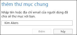 Hộp thoại Thêm thư mục chia sẻ trong Outlook Web App