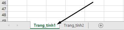 Tab trang tính Excel ở dưới cùng của cửa sổ Excel.