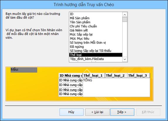 Chọn một trường để hiển thị dưới dạng đầu đề hàng trên trình hướng dẫn truy vấn Chéo bảng.