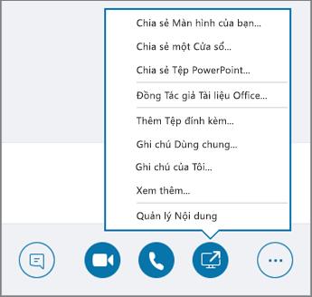 Ảnh chụp màn hình menu Chia sẻ Nội dung mở.