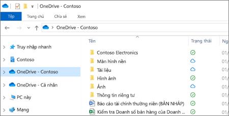 Ảnh chụp màn hình các tệp OneDrive for Business trong File Explorer