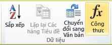 Nhóm Dữ liệu của tab Bố trí Công cụ Bảng trong ribbon Word 2010