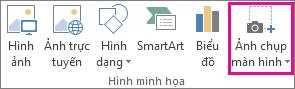 Nút chụp ảnh màn hình trong nhóm minh họa trong Word
