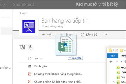 Kéo một tệp vào thư viện tài liệu SharePoint