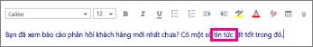 Nội dung thư trong Outlook Web App với một từ được tô sáng