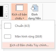 Từ menu Kích cỡ Trang chiếu, hãy bấm Kích cỡ Trang chiếu Tùy chỉnh.