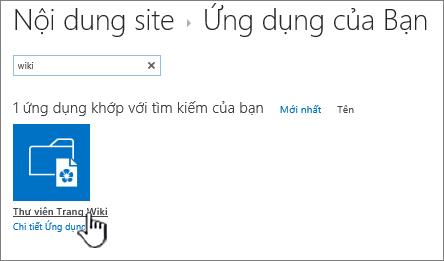 Nội dung trang với Wiki lát ứng dụng được tô sáng